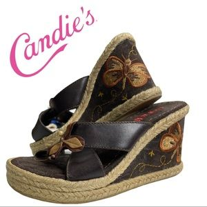 Vintage Candies Leather Wedge Slip On Butterly 7m